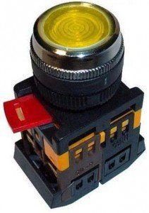 Кнопка TDM ablfs-22 d22мм неон/230в 1з 1р желтый