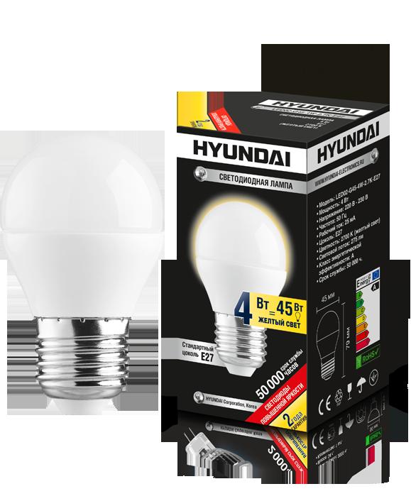 ����� ������������ HYUNDAI led02-g45-4w-2.7k-e27
