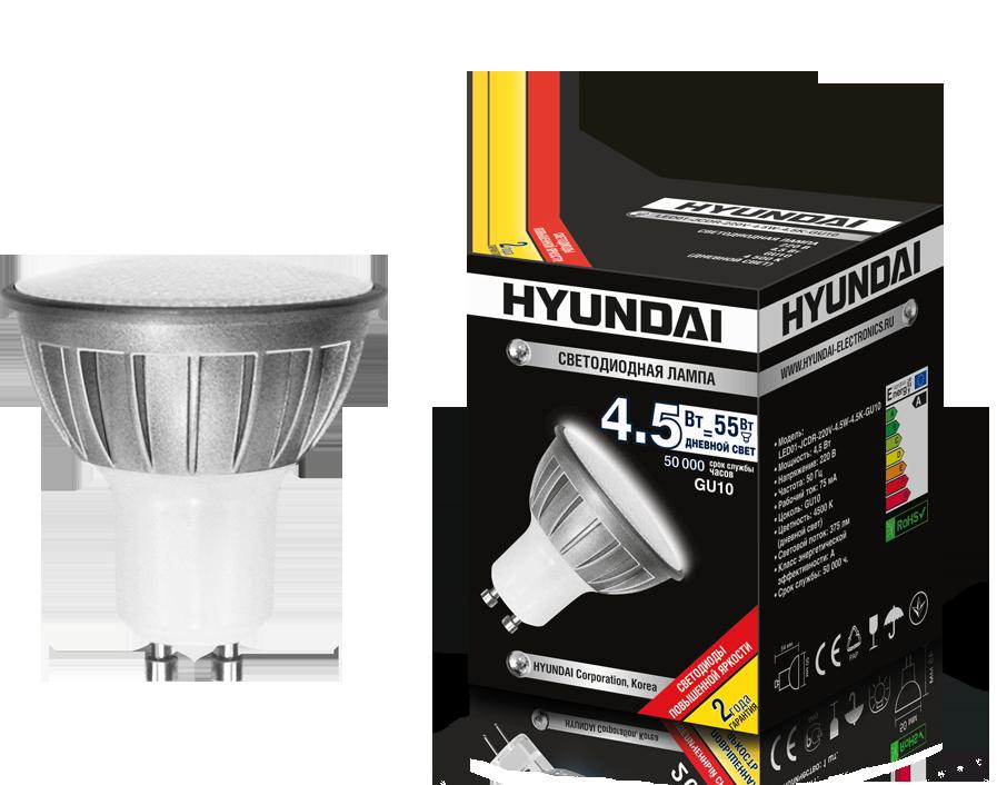 ����� ������������ HYUNDAI led01-jcdr-220v-4.5w-4.5k-gu10