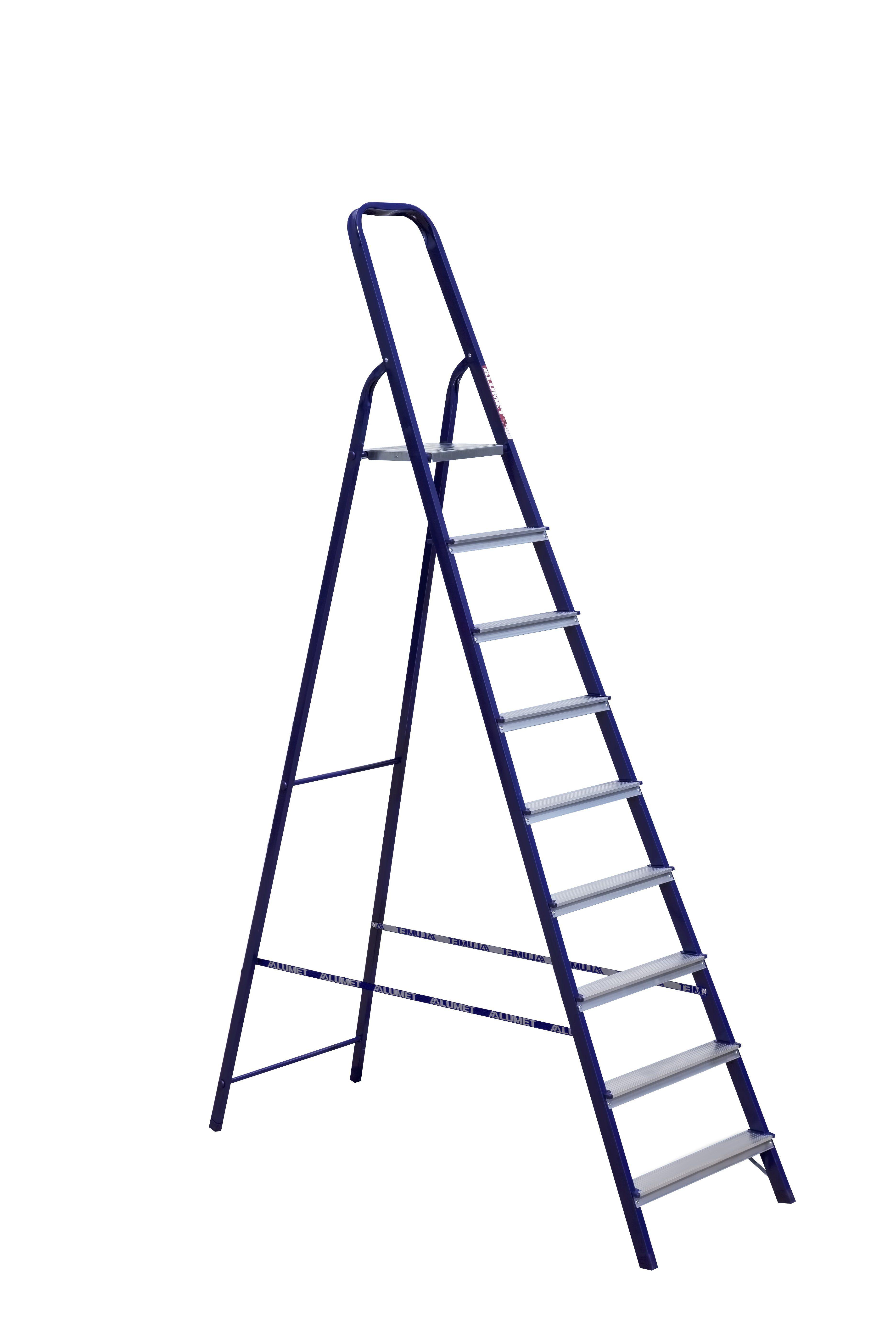 Лестница стремянка АЛЮМЕТ стальная м8409 9 ступеней