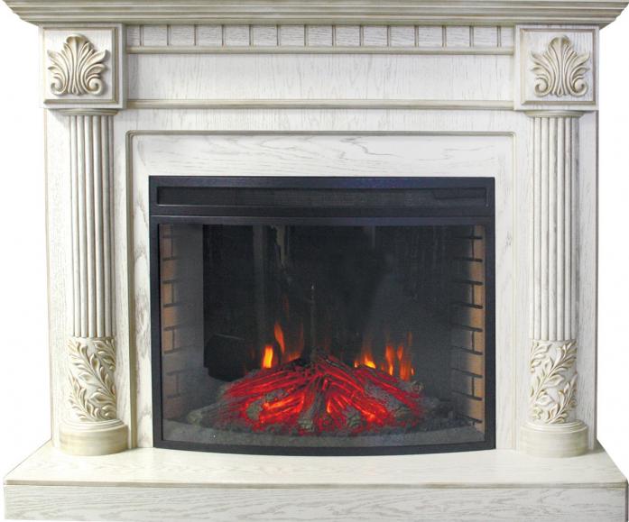 Портал для камина ROYAL FLAME rodos под panoramic 33fx (белый с патиной с золотом)