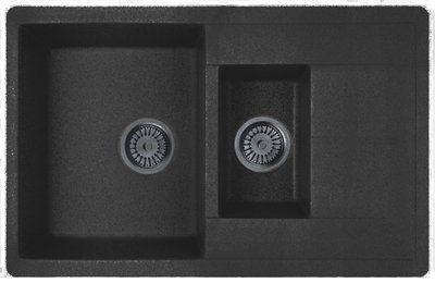 Кухонная мойка WHINSTONE Гурон 1 1/2B 1D (арт. C10) чёрный металлик