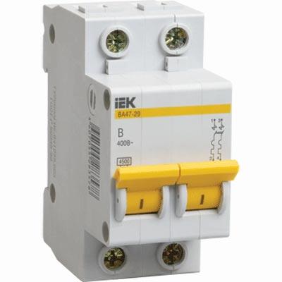 иэк Автоматический выключатель ИЭК ва47-29 2р 16а 4,5ка х-ка с